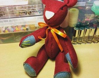 Burgundy Felt Bear Doll