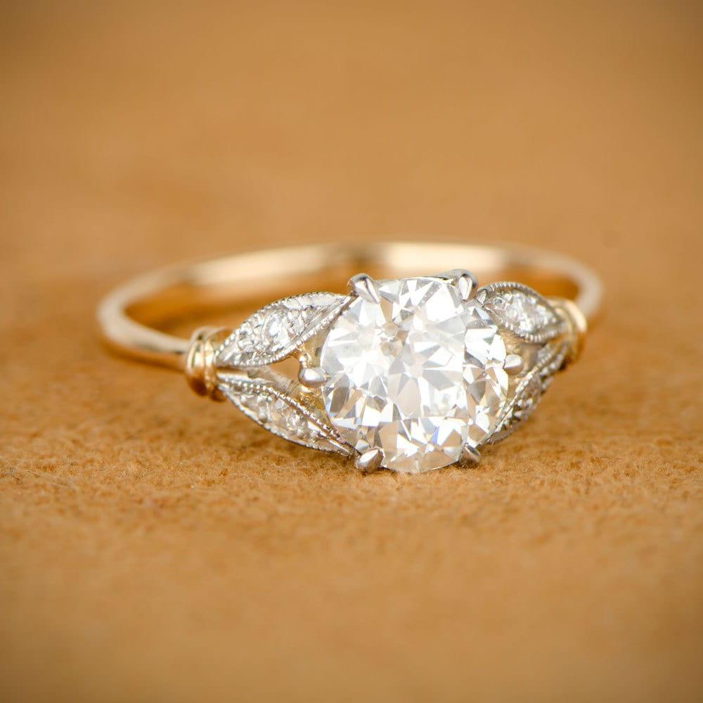 Edwardian Style Engagement Ring Old European Cut Diamond