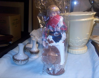 """Gorgeous Avon Childhood Dreams Porcelain Doll Collection: """"Howdy Partner"""" NIB, 1990's, WAS 25.00 - 50% = 12.50"""