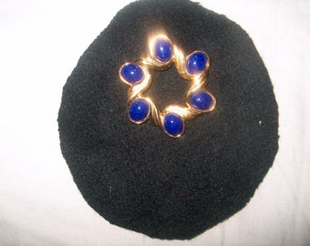 Vintage Costume Jewelry Brooch Pin, Napier, Blue Cabachon, WAS 25.00 - 50% = 12.50