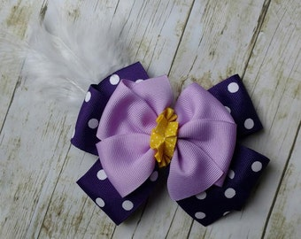 Daisy Duck Inspired Hair Bow, Disney Daisy Duck Bow, Disneyland inspired hair bow, Daisy Duck birthday party, purple polka dot hair bow, bow