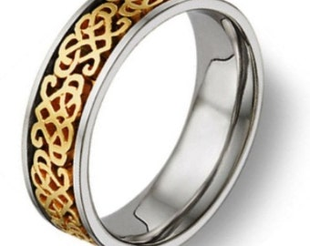 Handmade Celtic Heart Knot Wedding Band, Two Tone Gold