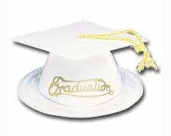 1 White Graduation Cap / Hat Cake Topper Open House party favors cake topper party decorations decorating baking supplies