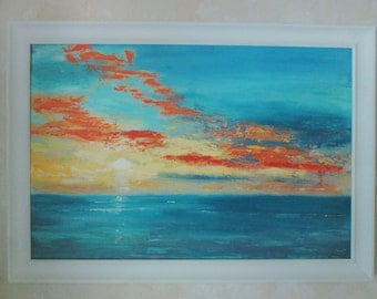 Original large abstract 24x36 OCEAN Seascape Painting FRAME INCLUDED