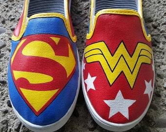 Super Man & Wonder Woman Custom Shoes