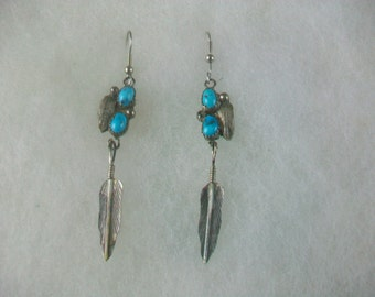 Vintage Navajo Sterling Silver Earrings Turquoise and Feathers Dangle Signed Preowned
