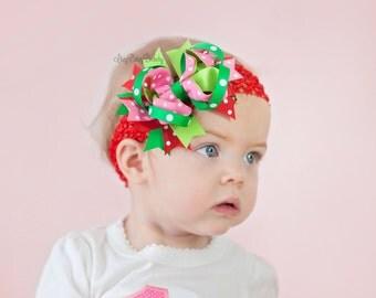Watermelon strawberry girls hair bow headband clip pink red green polka dot