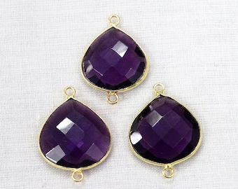 Sale 50% Off 3 Pc Lot Brazil Amethyst Hydro Heart Shape 16mm 24k Gold Plated Double Bail Gemstone Connector.