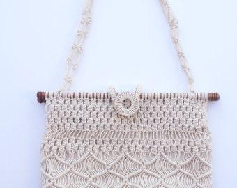 70's Vintage Off White Handmade Macrame Shoulder Bag