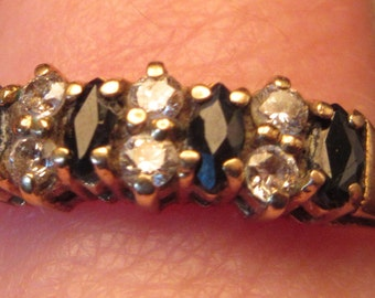 Vintage 9ct Gold Diamond & Sapphire Eternity Style Ring - Size O
