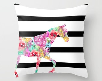 Horse Throw Pillow Cover, Watercolor Floral Pillow, Horse Decor, Black White with color pop Accent Pillow Cover Decorative Pillow Cover