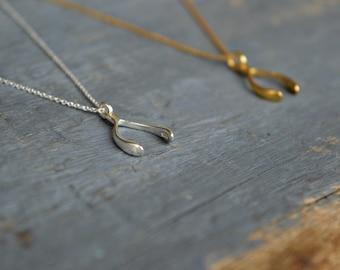Wishbone Necklace, Make a Wish Necklace, Jennifer Aniston Wishbone Necklace, Collarbone Necklace, medium size wishbone