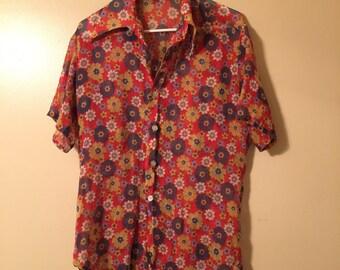 70s FLOWER POWER button up | vintage gauzy 1970s floral shirt