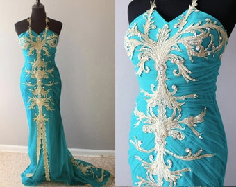 Teal Tulle Dress - Gold Lace - Gold Embroidery - Wedding Dress - Turquoise Dress
