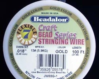 "Beadalon 7 .018"" Gold Color 100ft Spool (CD40718G-100)"