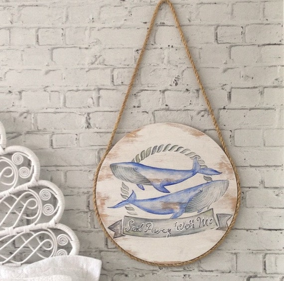 Set Sail whales Wall Art Design on Handpainted Timber Porthole / Turquoise and White