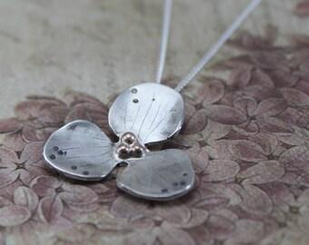 Sterling Silver Trillium Necklace - 14K Gold Flower Necklace