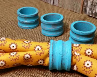 Napkin Rings, Wooden Napkin Rings, Shabby Chic Napkin Rings, Turquoise Napkin Rings, Turquoise, RobinsStudio, Shabby Chic, Vintage, Cottage