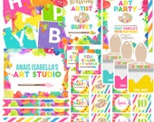 CUSTOM Neon Art Birthday Party Collection - Birthday Invitations, Decoration, Banner, Goodie Bag Boxes Favor Tags  - Printables