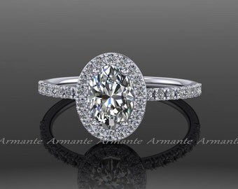 Moissanite Engagement Ring Halo, Oval Forever Brilliant Forever One Moissanite And Diamond Ring, White Gold Diamond Wedding Ring, RE56W