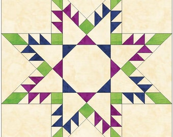 Square-in-Square Feathered Star Paper Piece Template Quilting Block Pattern PDF