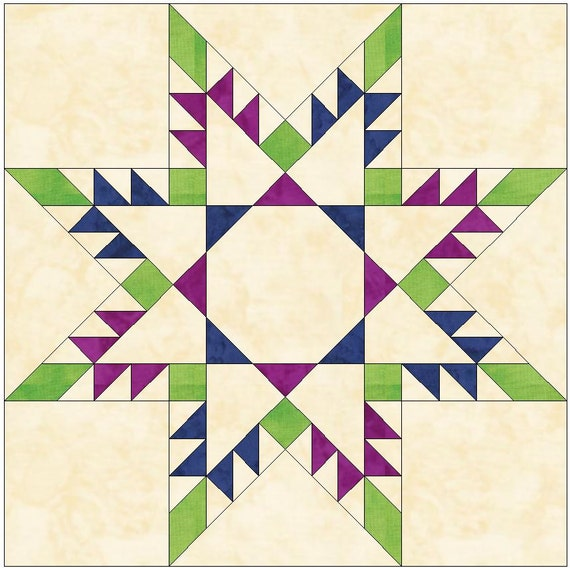 Square in square feathered star paper piece template quilting for Paper star pattern template