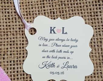 """Personalized Favor Tags 2x2"""", Wedding tags, Thank You tags, Favor tags, Gift tags,  horseshoe favor tag, lucky"""