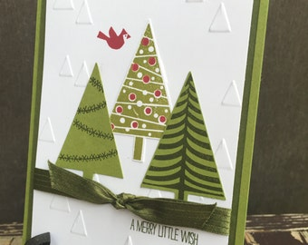 Stampin Up-Festival of Trees-Mossy Meadow-Old Olive-Stars Embossing Folder-Stitched Satin Ribbon