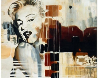 Marilyn Monroe - Signed Hand Painted Figurative Oil Painting On Canvas