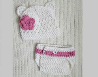 Crochet hat and diaper cover set, baby girl gift, pink flower bear, newborn photo prop, 0-3 month baby gift, baby girl hat, baby shower gift