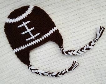 Crochet baby hat, baby boy hat, crochet earflap hat, baby girl hat, baby boy gift, crochet football hat, newborn photo prop, 0-3 month hat