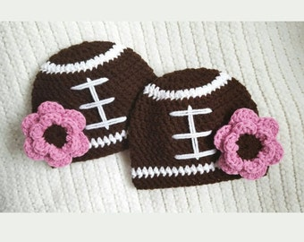 Crochet football hats, twin baby gifts, twin girl hats, newborn photo prop, 0-3 month twin hats, baby shower gift, twin baby hats, girl hat