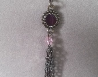 Gemstone Necklace with Pink Crystals and Antique Silver Chain