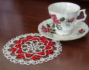 """Tatted Doily with 32 Red Hearts """"Small Emma"""""""