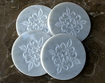 Hand carved Marble coasters round shape Fleur de Lis design collectible stone