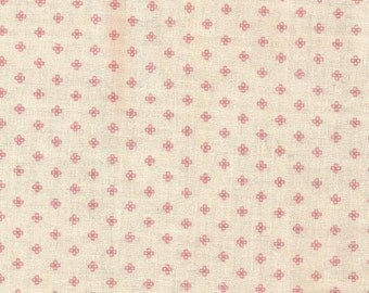 Pink and Cream Graphic Print Cotton Fabric / 1 yard 24 inches