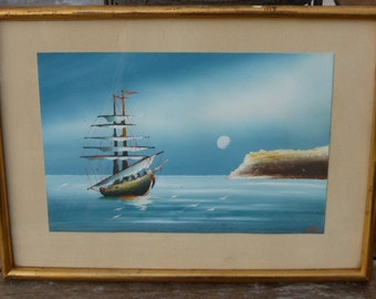 Painting ship schooner signed by H. PAY
