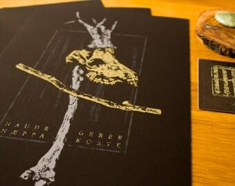 NAUÐR - Din A4 rune design print, skull, nauthiz, distress, art