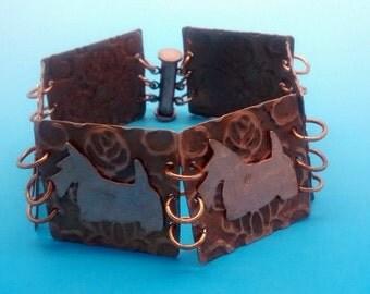 Copper Embossed Scottish Terrier Dog Bracelet