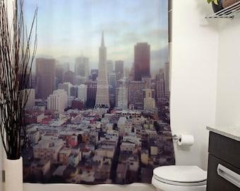 San Francisco Printed Shower Curtain, Bathroom Decor, Home Decor, Street Photo, California Photography, Urban, City Skyline, Buildings, Blue