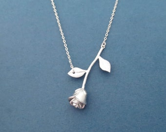 Beautiful, Silver, Rose, Necklace, Flower, Necklace, Lovers, Best friend, Birthday, Friendship, Sister, Mom, Gift, Jewelry