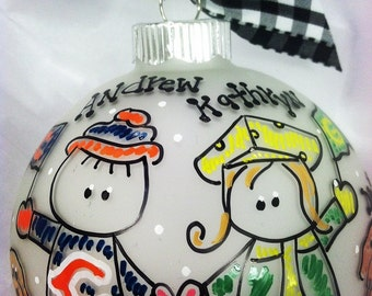 Couple House Divided Sports Team Ornament, Rivalry, Personalized Christmas ORNAMNET