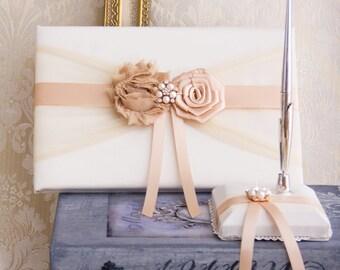 Rose Gold Wedding Guest Book, Pen, Pen Holder, Wedding Sign Book, Blush Guest Book, Champagne Wedding Accessories
