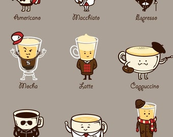 Coffee Personality Funny Cartoon Coffee Drink Types w/ Expressions Magnet - MT - FM365 - 0040