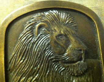 Lion Belt Buckle - Brass Belt Buckle - Lion Motif - Marked Indiana 1976 - Leo, Zodiac - Lion King - Narnia - FREE SHIPPING - We have Two