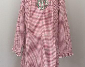 SALE Girl's Personalized Christmas nightgown, girls monogrammed Christmas night gown, toddler monogram pajamas, Christmas plaid red plaid