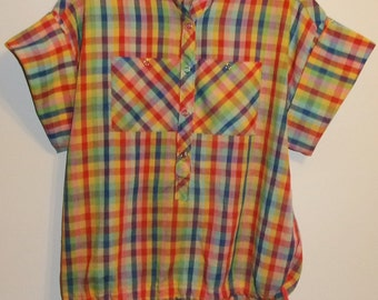 Vintage Ladies Checked Pullover Drawstring, Snap Front Shirt by h.i.s