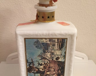 J. W. Dant Bourbon Decanter, Milk Glass, Boston Tea Party