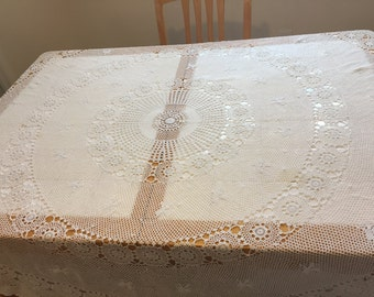 White Crocheted Round Tablecloth, 70 inch diameter