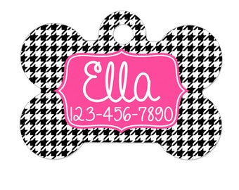 Personalized Dog Tag - Dog ID Tag - Personalized Bone Dog Tag - Custom Pet ID Tag - Houndstooth